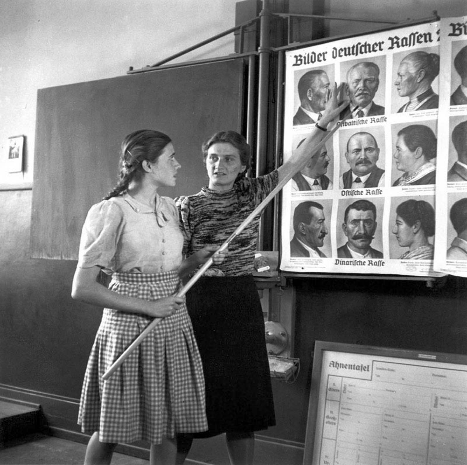 German students taking part in race education classes, 1943.
