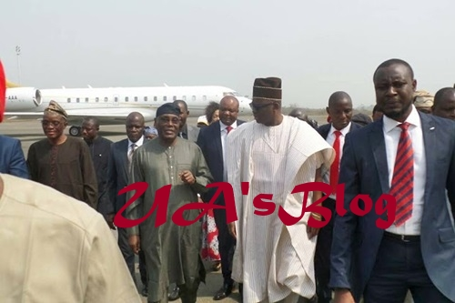 Gov. Fayose Welcomes Atiku Abubakar As He Arrives Akure Airport (Photos)