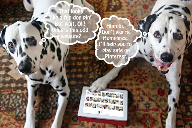 Dalmatian dogs looking a Pinterest on an iPad with though bubbles about misleading pins on Pinterest
