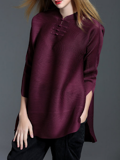 https://www.stylewe.com/product/burgundy-stand-collar-h-line-3-4-sleeve-tunic-29339.html