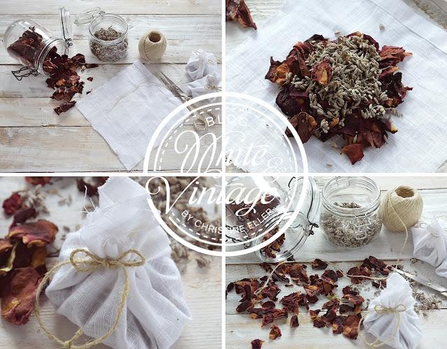 Duftsäcken aus Rosenblüten und Lavendel selber machen.