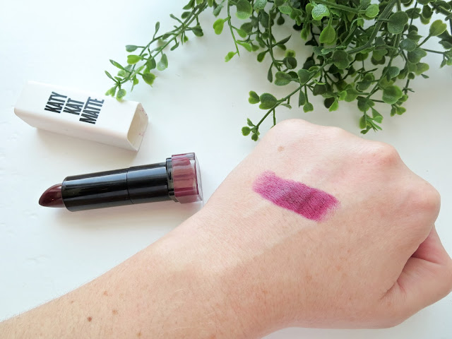 a picture of Covergirl Katy Kat Matte Lipstick in Maroon Meow (swatch)
