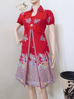 Dress Batik Rama Kupu Merah