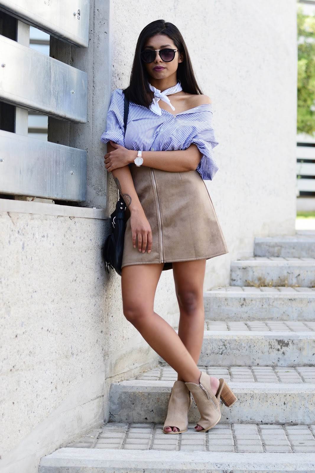 suede skirt outfit inspiration style