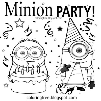 Best cartoon pictures of Minions drawing party food cake clipart Minion coloring kids drawing ideas