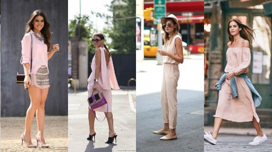 roupas rosa quartz looks