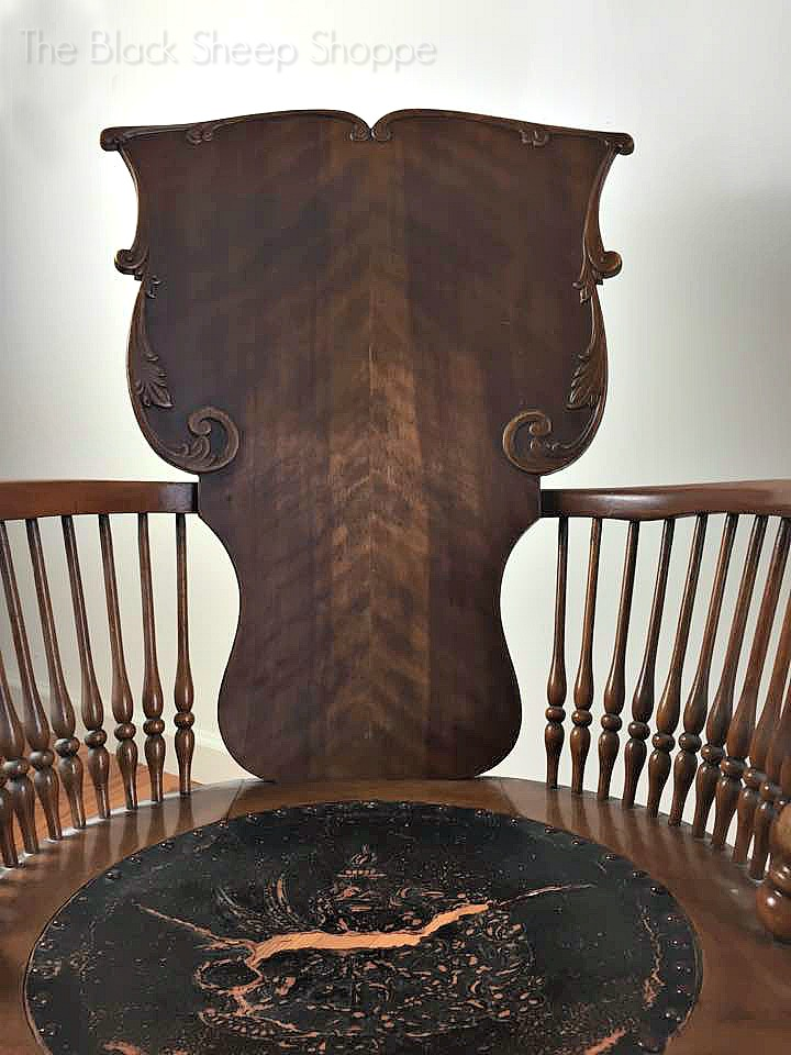 Seat back of antique rocking chair