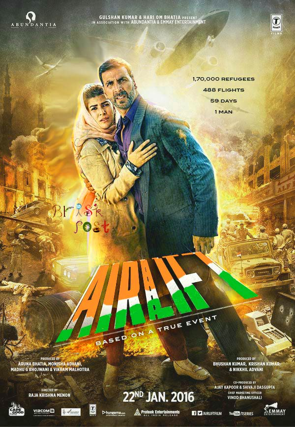Nimrat Kaur and Akshay Kumar standing around fire blasts in Airlift movie poster