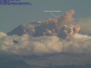 Ecoulement pyroclastique sur le volcan Shiveluch, ou Sheveluch, 19 août 2015