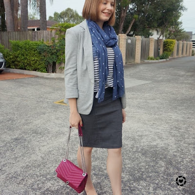 awayfromtheblue Instagram | grey jersey blazer print mixing business casual outfit with polka dot scard