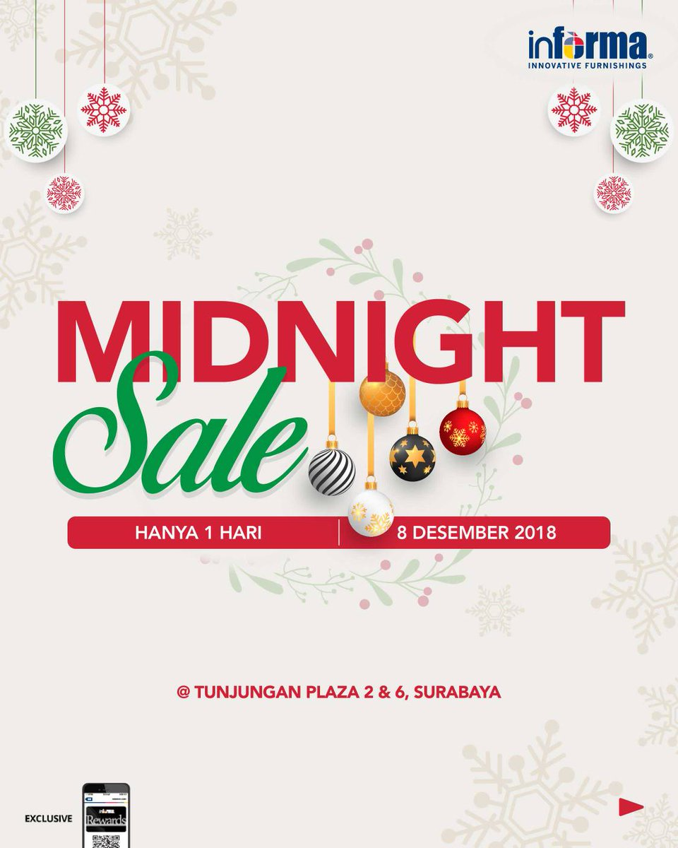Informa - Promo Diskon 50% + Ekstra 15% di Midnight Sale Tunjungan Plaza Surabaya (HARI INI)