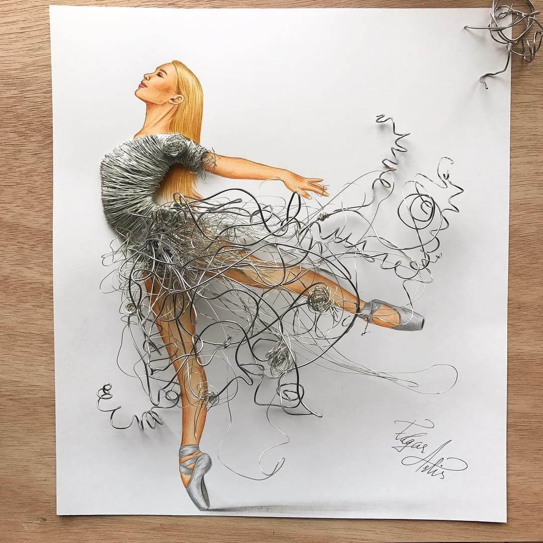 02-Wire-Dress-Edgar-Artis-Drawing-with-Everything-Food-Art-and-More-www-designstack-co