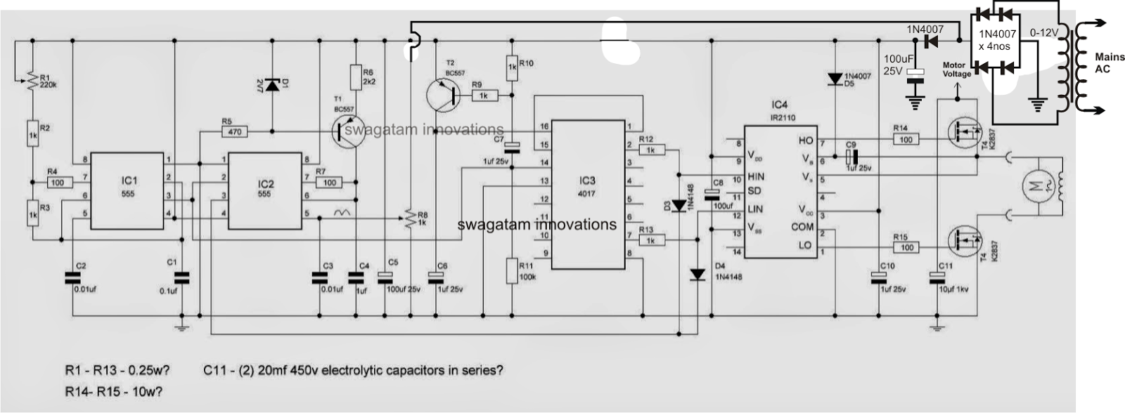 single phase variable frequency drive vfd circuit electronic r1 is for frequency adjustment and r8 for voltage adjustment both of these controls could be used for optimizing the v hz ratio for a particular motor