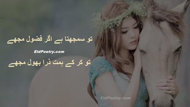 Tu samajhta hai agar fazool mujhe..  Bhool Shayari Urdu Shayari Urdu Poetry
