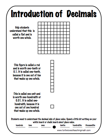 classroom freebies too using base 10 blocks to introduce decimals. Black Bedroom Furniture Sets. Home Design Ideas