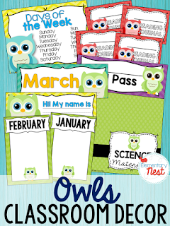 Owl Themed- Classroom Decor Collection to transform your classroom- pick a scheme or a theme to make your classroom decorated and organized