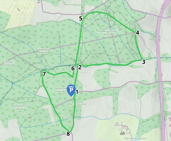 Map of Walk 66 Danemead Loop Image created with Map Hub by Hertfordshire Walker Elements © Thunderforest © OpenStreetMap contributors