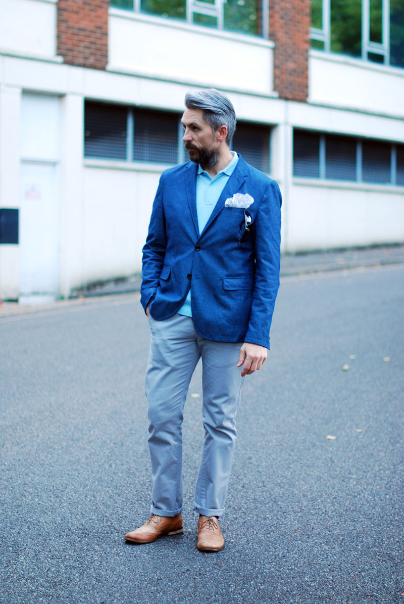 Menswear: Blue blazer, grey trousers, tan brogues