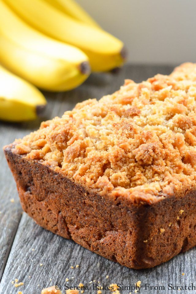 Banana Bread Coffeecake is an easy to make loaf with lots of banana flavor and a perfect crumb. serenabakessimplyfromscratch.com