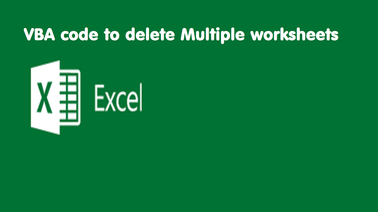 Vba Tricks And Tips Vba Code To Delete Multiple Sheets At