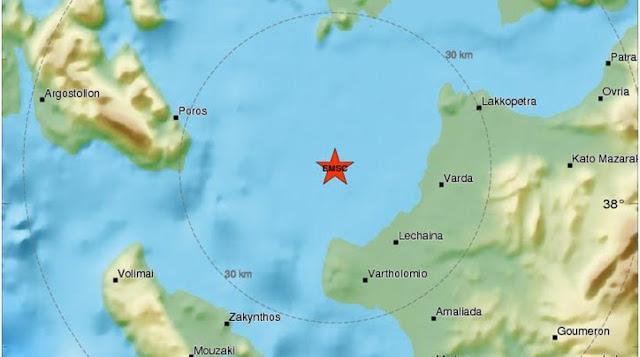 Σεισμός 4,1 Ρίχτερ ανοιχτά της Κυλλήνης