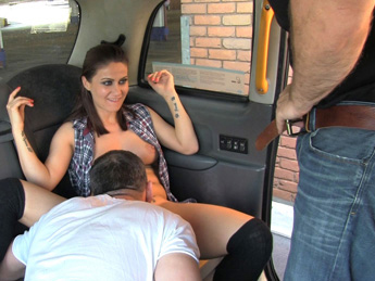 Cab driver gets balls deep in backseat threesome action – Fake Taxi