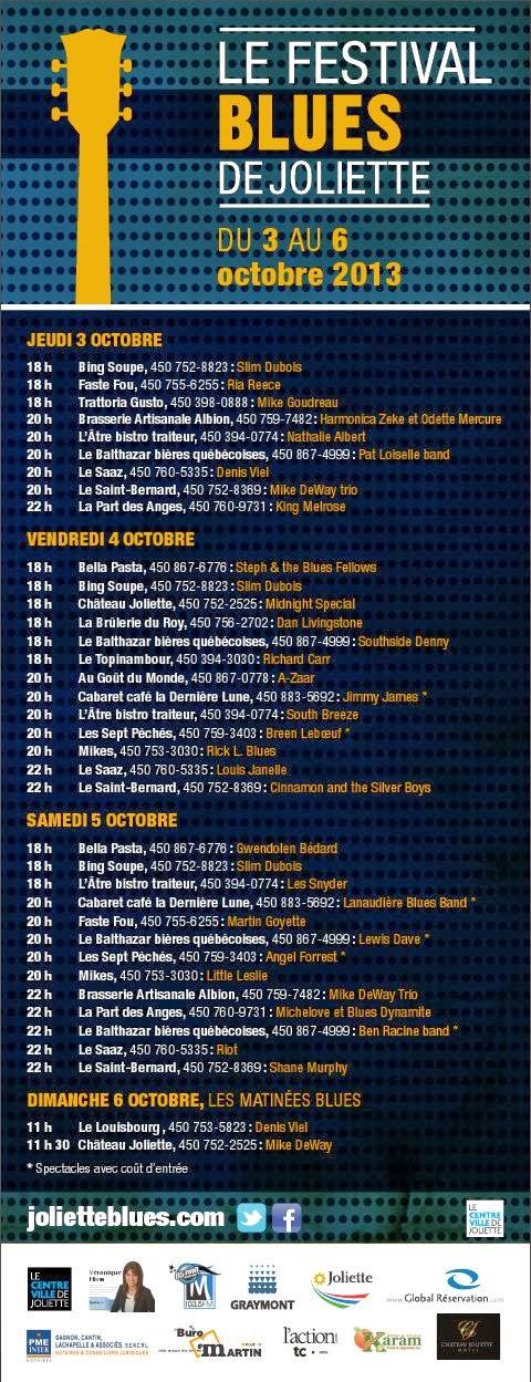 El 10mo festival de Blues de Joliette será del 3 al 6 de octubre