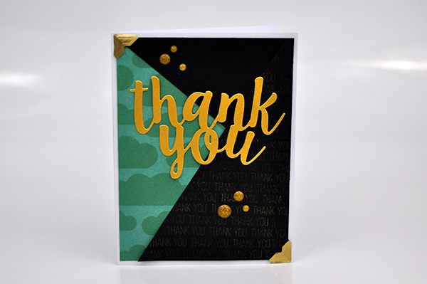 """Thank You"" Stenciled Background card by Jen Gallacher for www.jengallacher.com. #card #jenscards #jengallacher #stencil #stamping #diecutting"