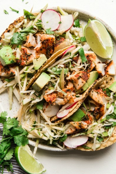 SMOKY PAPRIKA FISH TACOS WITH AN APPLE SLAW
