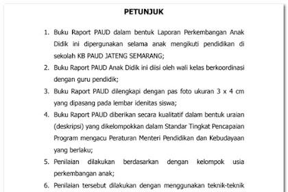 Contoh Format Raport TK PAUD Kurikulum 2013