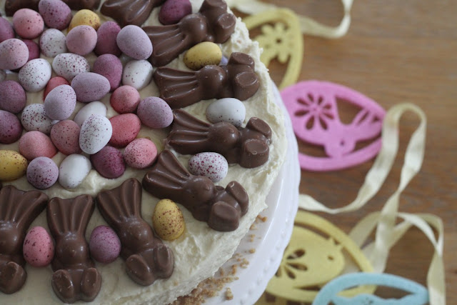 Easter dessert ideas, MaltEaster Bunny & Mini Egg White Chocolate Cheesecake