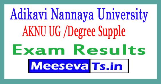 Adikavi Nannaya University UG/Degree Supple Exam Results