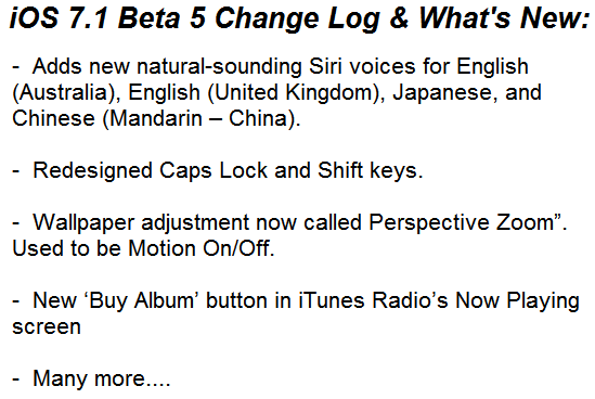 Apple iOS 7.1 Beta 5 Official Changelog
