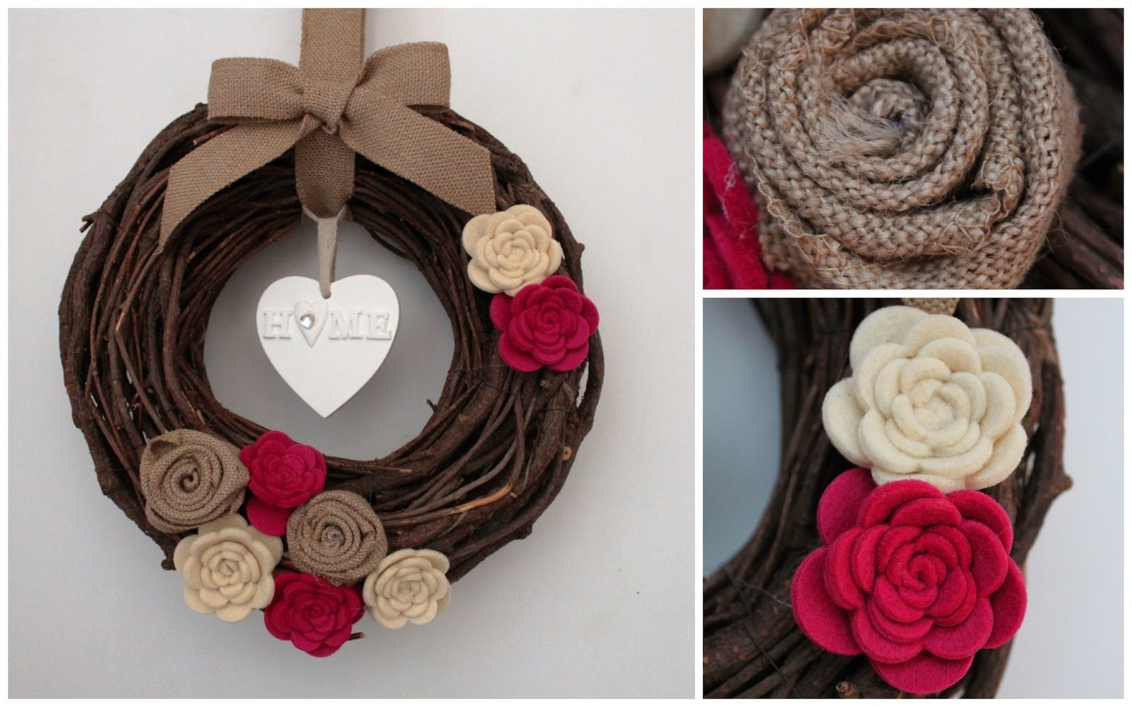 stempelleidenschaft t rkranz mit spiralblumen aus filz. Black Bedroom Furniture Sets. Home Design Ideas