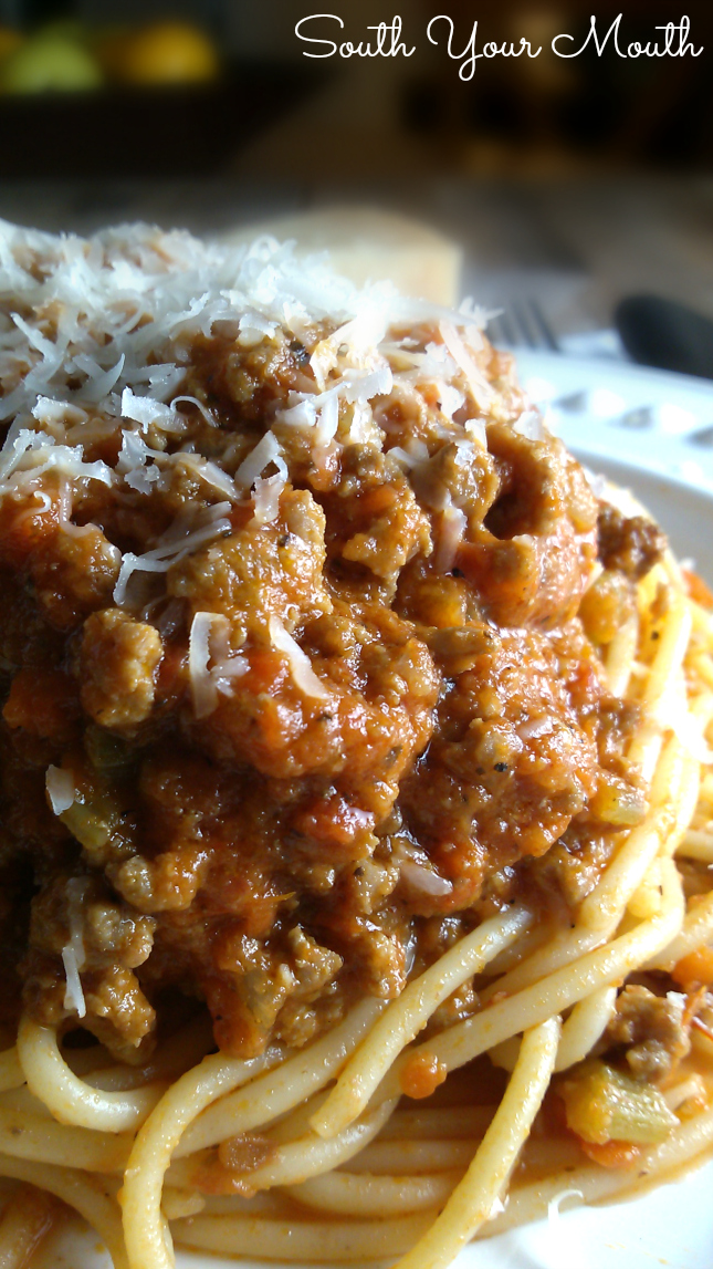 "Bolognese Sauce ""This sauce is more about the meat and layering of flavors and less about the tomatoes. You cook this for hours uncovered so that the sauce reduces and the flavors really intensify."""
