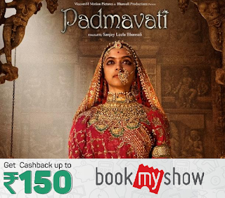padmavati movie deals offer cashback discount bookmy show paytm