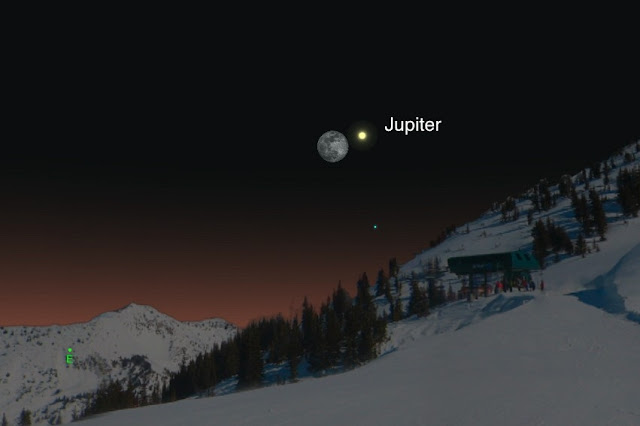 Jupiter close to moon