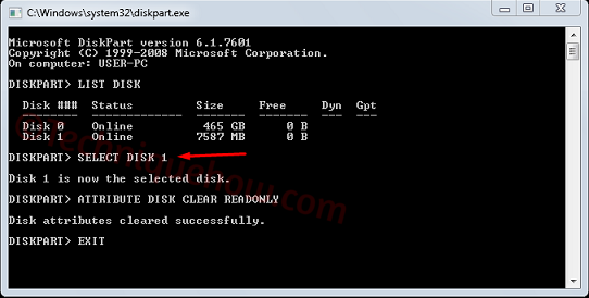 Write-protected dos 2 select disk