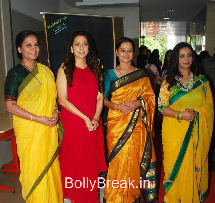 Shabana Azmi, Juhi Chawla, Zarina Wahab, Divya Dutta, Hot HD Images of Juhi Chawla Upsasana Singh at 'Chalk N Duster' Mahurat
