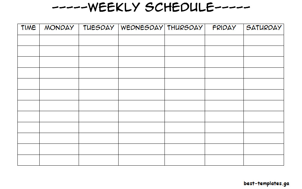 Weekly Timetable Template For Students  Free Word Format  Best