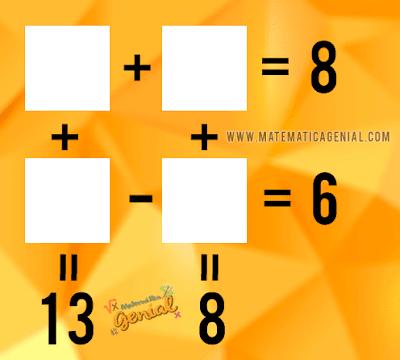 Desafio - Quais são os valores para os quadrados? x+y=8, w-z=6