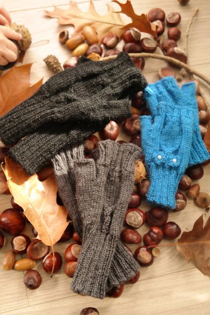 Mitenki robione na drutach