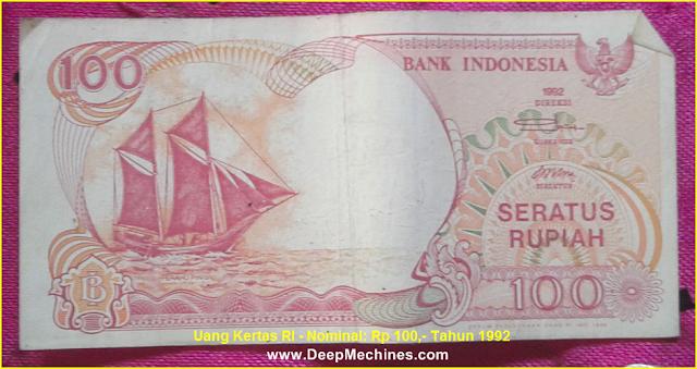 Gambar bagian Depan Uang Kertas RI - Rp 100,- Tahun 1992
