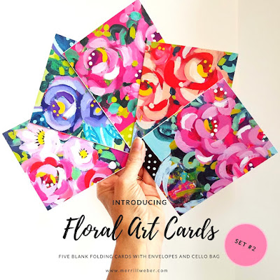 Floral painting art cards by Merrill Weber