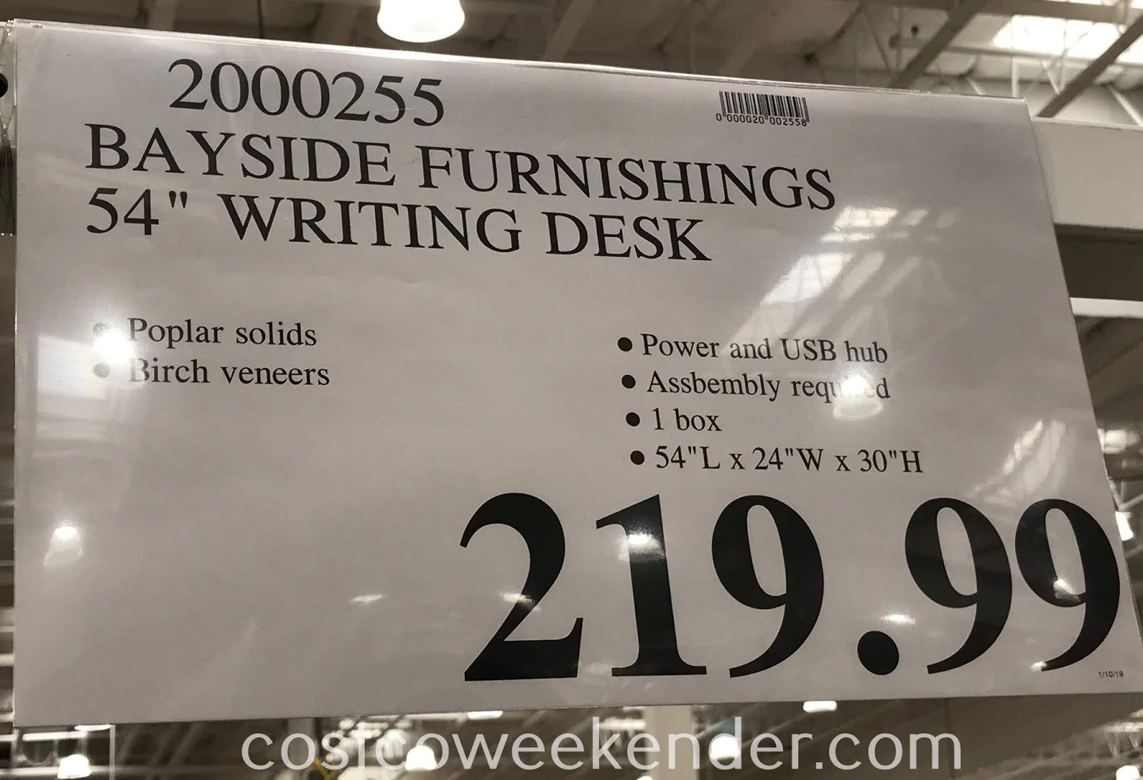 Deal for the Bayside Furnishings by Whalen Writing Desk at Costco