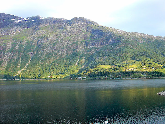 A view of the Hardangerfjord from the Hotel Ullensvang in Lofthus, Norway.