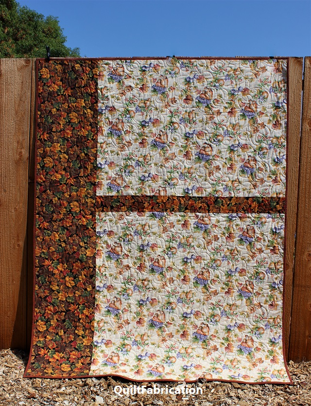 Leaf Piles Quilt backside