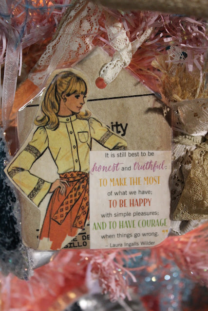 Bookmark gift tag with vintage pattern girl and Laura Ingalls Wilder quote