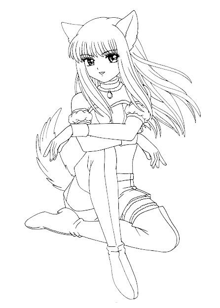 Chibi Anime Girl Coloring Apple Clip Art