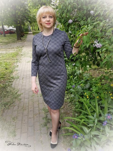 Helen Fir-tree knitted dress cell трикотаж платье клетка